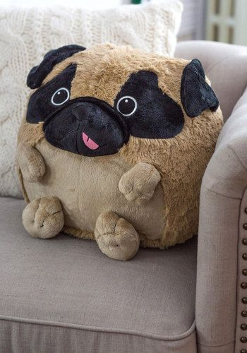 Plush One Pillow in Pug - Multi, Dorm Decor, Better, Kawaii, Quirky, Variation