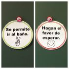 Circular, Double-Sided Sign for Bathroom Procedures in the Spanish Bilingual Classroom. Simply flip the sign to visually communicate to students wh...