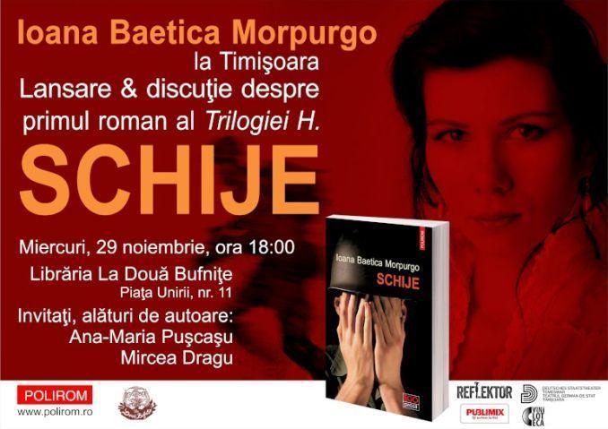 Miercuri, 29 noiembrie, de la ora 18:00, la Librăria La Două Bufniţe (Piaţa Unirii, nr. 11) din Timişoara va avea loc o întîlnire cu scriitoarea Ioana Baetica Morpurgo, cu prilejul apariţiei romanu…