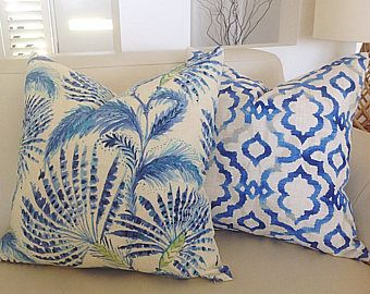 Cushions Blue Ikat Cushion Cover, Shake N Stir Blue and Green Cushion Cover,  Linen Cushion Cover, Scatter, Throw, Toss Pillows