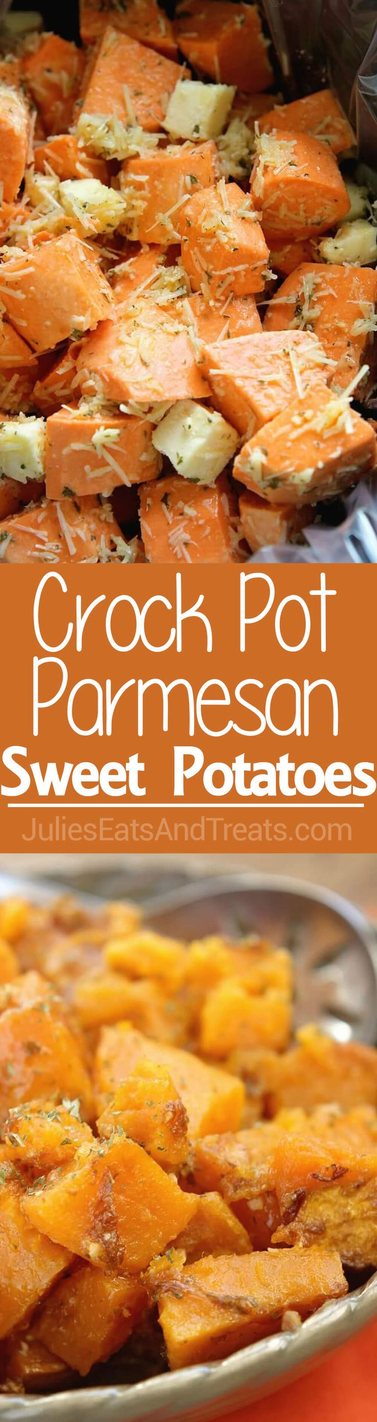 Parmesan Crock Pot Sweet Potatoes ~ Easy Weeknight Side Dish or Holiday Side Dish in Your Slow Cooker! Full of Garlic and Parmesan Flavor! via @julieseats