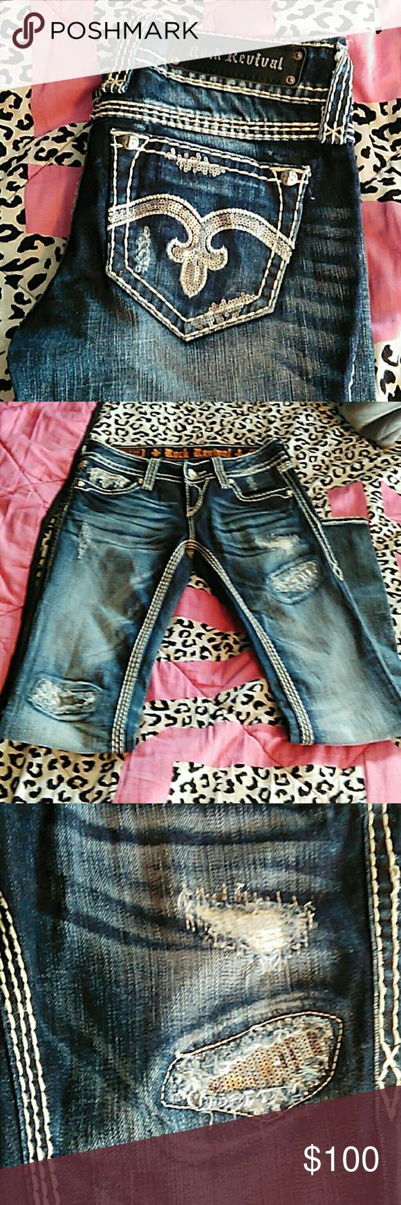 """Alanis Boot Rock Revival Alanis Boot style, size 26. Inseam about 31"""". EXCELLENT condition. :) Offers are welcome and I will considering trading for other Rocks with a SHORT inseam! I also sell on Mercariiii for cheaper. Rock Revival Jeans Boot Cut"""