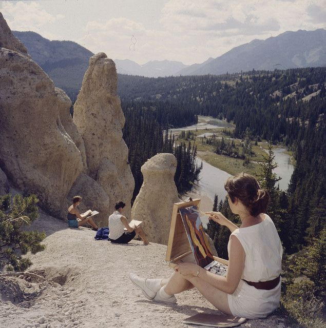 Students painting some of the remarkable scenery in Banff National Park, Alberta. A view of the entire valley can be seen / Des étudiantes peignent des paysages remarquables du parc national Banff, en Alberta. Toute la vallée est visible | by BiblioArchives / LibraryArchives
