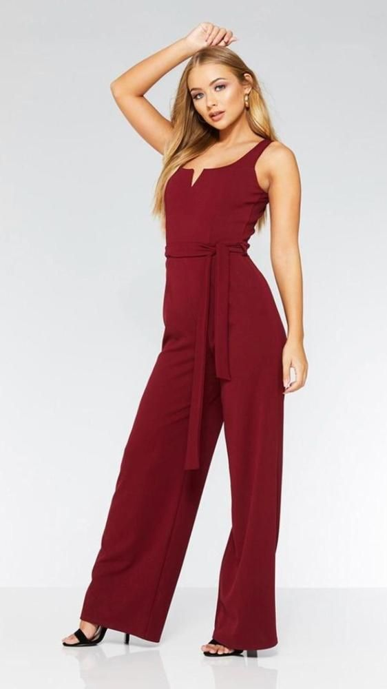 26ee0754908 Stunning Quiz Burgundy Wine Wide Leg Stretchy Sach Tie Waist Jumpsuit Size  12  fashion  clothing  shoes  accessories  womensclothing  jumpsuitsrompers  (ebay ...