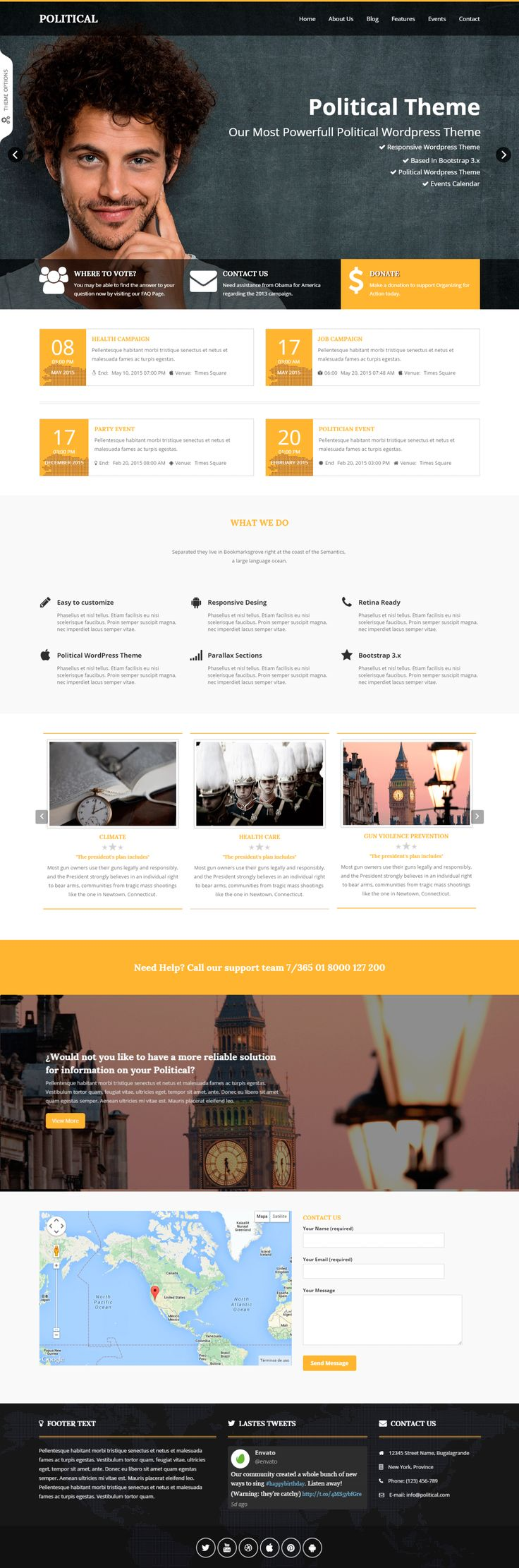 Political is a Wordpress theme, this page is exactly that you need if you want to show information about a candidate campaign and it can be used for other websites related to politics. Even it can be used for other general purpose websites.   Political is not only a political theme also, you can use it for adapt it to your needs. It is easy to configurate, we can offer you a great support and doing easier your its use. #wordpress #political #web #design #themeforest #campaign