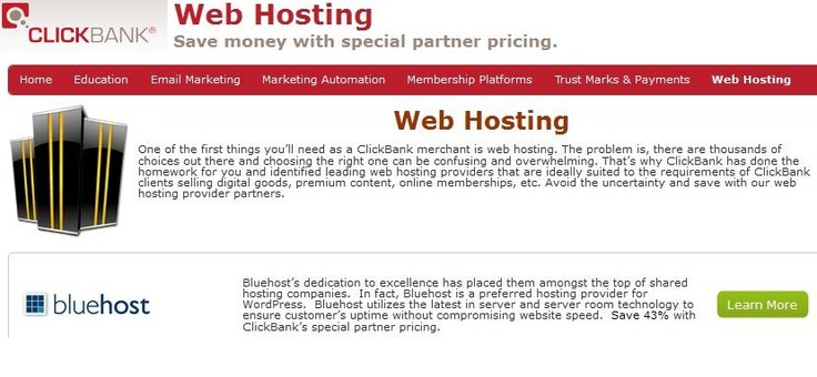 Best web hosting recommended by clickbank official