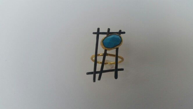 Handmade gold plated   silver ring  with turquoises stone from Despina  Kornelaki message inbox on Facebook .