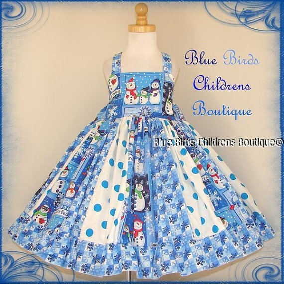 Winter Blue Snowman Dress BBCB Boutique Girls Party by sarahBBCB, $38 ...