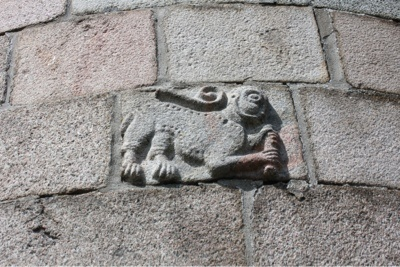 God's Lamb carrying a scroll with seven seals on it - at the apse of Tømmerby Church.