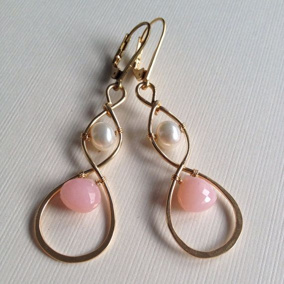 Gold-filled wire wrapped earrings with pearls and pink opal beads