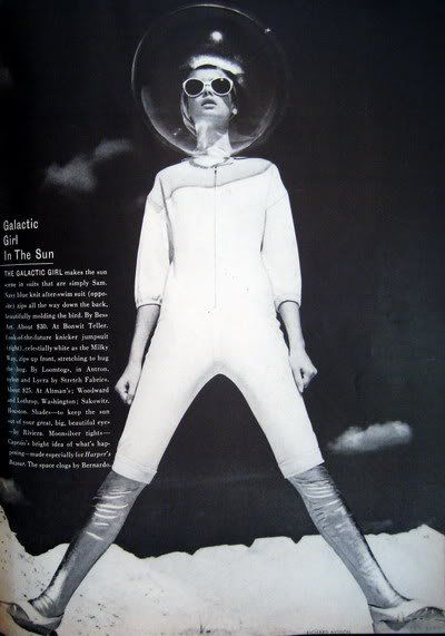 April 1965 Bazaar. Richard Avedon was celebrating 20 years with Bazaar and was the Guest Editor and sole photographer. Jean Shrimpton was the cover girl and was featured in the space-themed editorial pages.