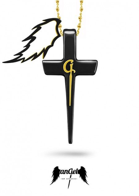 """""""G"""" Cross Pendant, with the monogram G in relief, symbolizing the Gate to heaven & a Feather, the ultimate angelic sign, left as reminder that Angels are continually watching over Humanity. Gold Plated Silver, Ruby 0.08 ct, Black Enamel. Click to find more jewellery pins!  #style #design #ideas #jewellery #angelbystratis #voyjewellery #trends #womensfashion #fashion #love  #stratis #stratisvoyiatzis #stratisvogiatzis"""