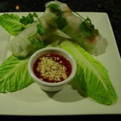 Thai Basil Rolls with a hoisin peanut sauce! Yum! I've ...