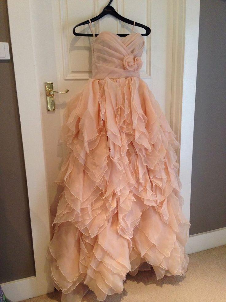 Champagne blush NEWPrincess Strapless Organza Wedding Dress Ball Gown Prom Model