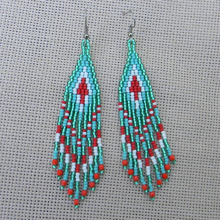 Turquoise red and white  seed bead earrings   by Anabel27shop, $15.00