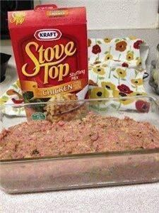 Stovetop Meatloaf   This is a awesome meatloaf! Meatloaf made with stove top stuffing. Gets rave reviews and SUPER easy.  1 Pound Ground Meat  1 Egg  1 Box Stuffing Mix  1 Cup Water Mix everything together, smoosh it into a loaf pan, and bake at 350 for about 45 minutes.  BAM!!! Supper is served!!!