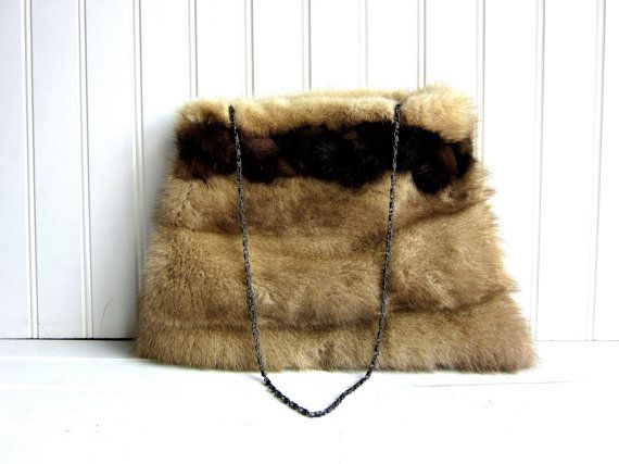 Blonde Mink Fur Purse Upcycled Handmade Handbag Lined by jitterbag, $125.00