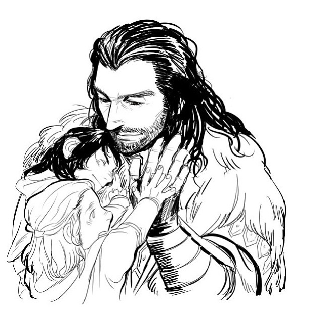 Thorin with little Kili and Fili <- D'aww, Little Fili comparing hands with Uncle Thorin makes me all fuzzy.
