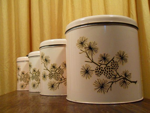 Pottery Inspiration   I Like The Pattern   Consider Painting This Pattern  On Pink Pine Cone Kitchen Canisters Vintage By Martasrose On Etsy