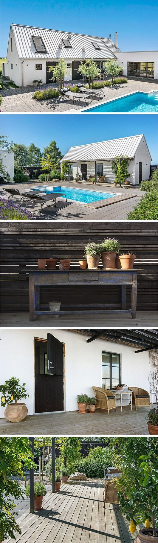 Metal roof, terra cotta planters