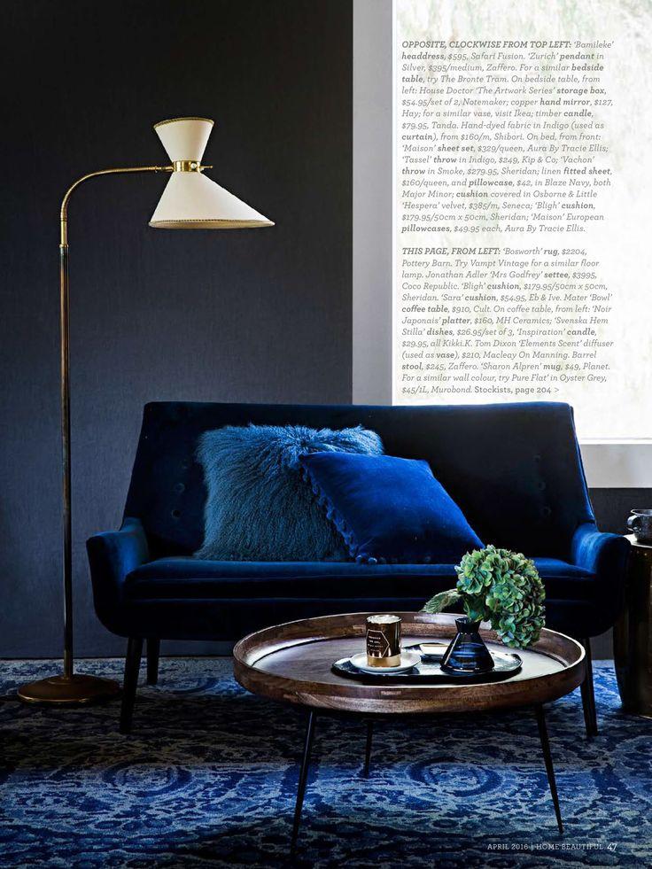 Sara Cushion featured in Home Beautiful #loveshackbyebandive #ebandivelifestyle #cushion #home #navy #velvet #lifestyle