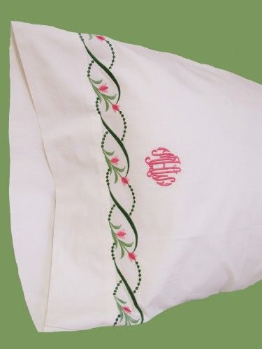 Lismore Embroidered Bed Linens. Exquisite custom embroidered sheets, cases, shams, duvet covers and coverlets custom sewn to your color specifications. http://www.bellalino.com/Monogram%20%20Bed%20Linens/Lismore.htm