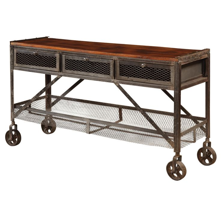 Rustic console table with wheels 43536 3 drw console for 35 console table
