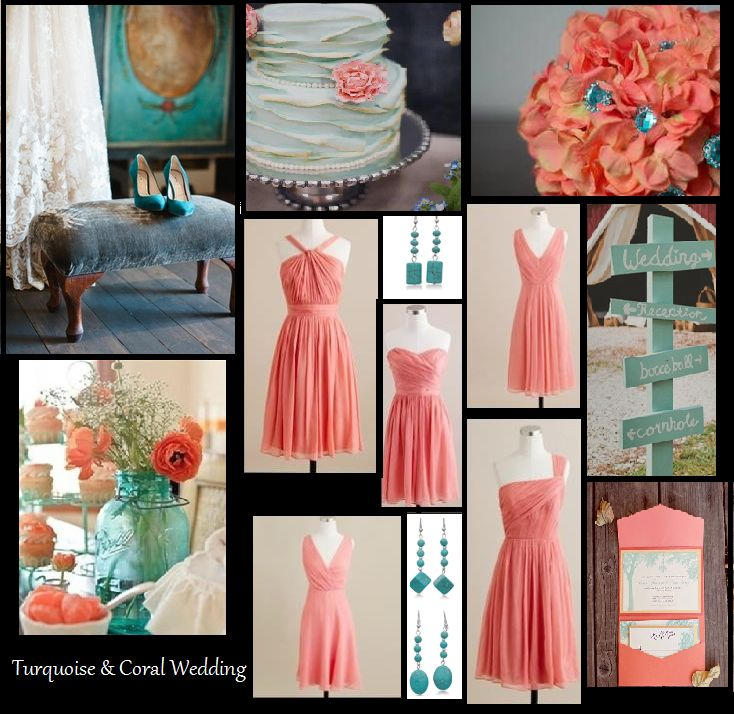 Turquoise And Coral Wedding Collage