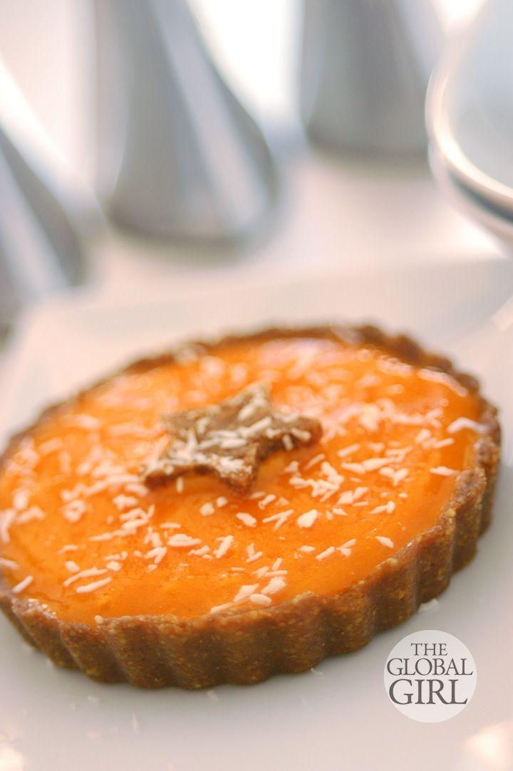 The Global Girl Raw Food Dessert Recipes: Raw Vegan Persimmon Carob Tart with a walnut, medjool dates and coconut gluten-free crust. Oil fre...