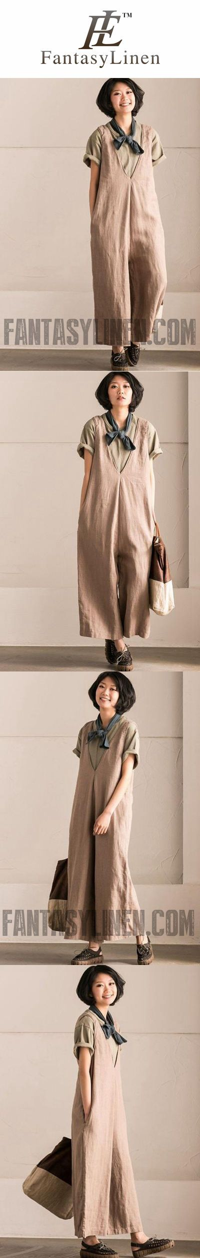 KHAKI V-NECK CAUSAL COTTON LINEN OVERSIZE OVERALLS WOMEN CLOTHES K289BG