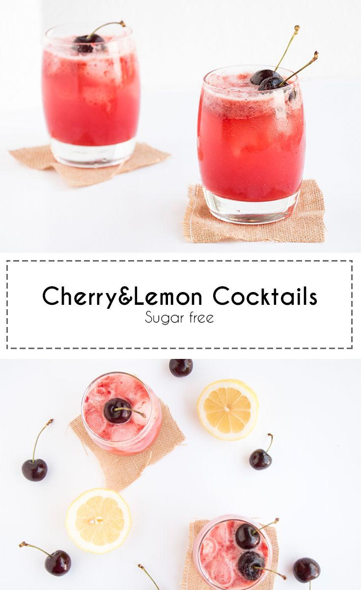 Refreshing cherry and lemon cocktails. Sugar free and low in calories. Perfect for a summer drink.