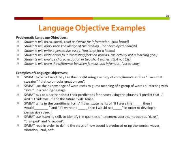 content objectives vs language objectives google search