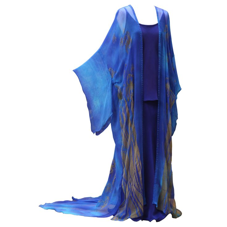 Long Kimono in Enamel Blue by Charles and Patricia Lester // Blue Moon Collection