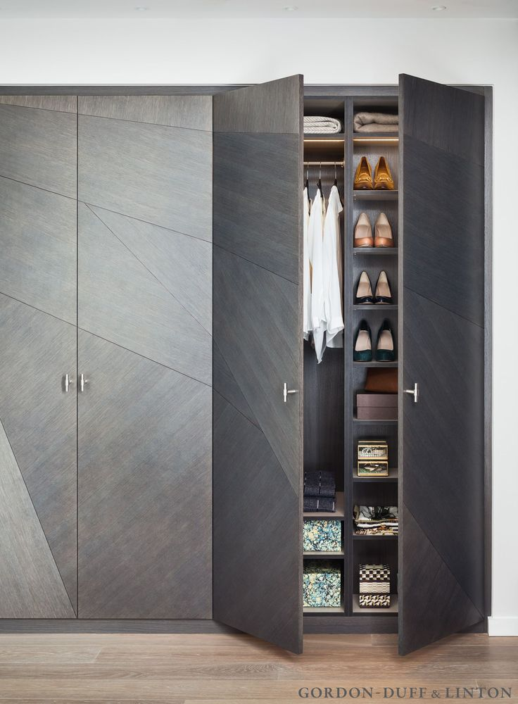 Split veneer wardrobe doors and interiors designed by Gordon-Duff & Linton. #GD&LBespokeFurniture