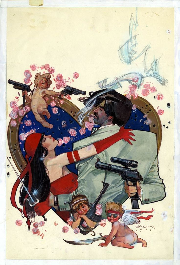 ABOVE: Bill Sienkiewicz, original art by the cover of Electra Assassin #4 (of 8), November 1986. Via marvel1980s.