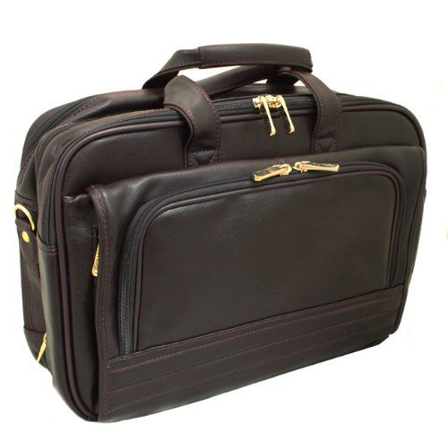The New Yorker Leather Expandable Soft Laptop Computer Briefcase - Burgundy Main compartment has a computer sleeve with 3 large open pockets for accessories, the middle is a separate, expandable compartment, which holds a change of clothes, and the back is an accordion file compartment. The front zip section has pockets for palm pilot, cards, pens and a key ring with Bellino hardware. A side zip p... #EcWorld #PCAccessory