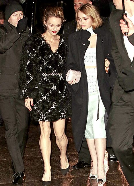 Vanessa Paradis and daughter Lily-Rose Depp arrive at Chanel Metiers d'Art show at the Park Avenue armory in NYC.