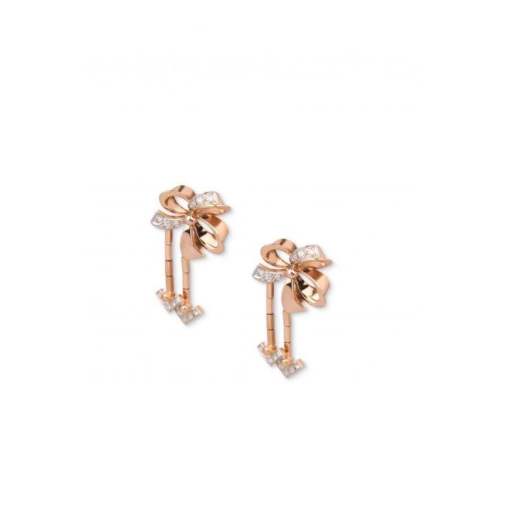 ZG27 18ct Rose Gold Diamond Bow Drop Earrings C1940s