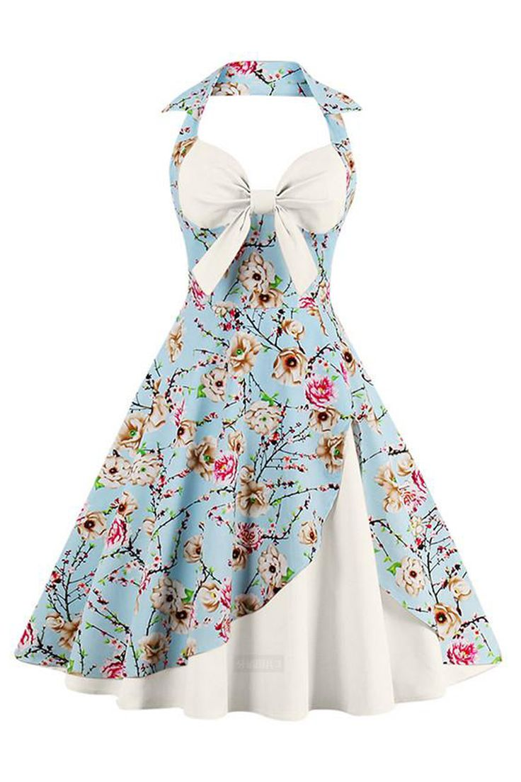 Gorgeous in floral and white in our Atomic Vintage White Inspired Floral Halter Cocktail Dress. Get it here: https://atomicjaneclothing.com/products/atomic-vintage-cream-inspired-floral-halter-cocktail-dress