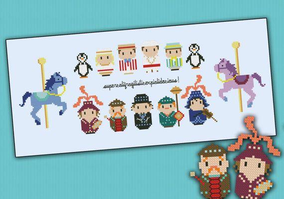 Disney Mary Poppins - Supercalifragili chibi - PDF  cross stitch pattern via Etsy ($8 for pattern).