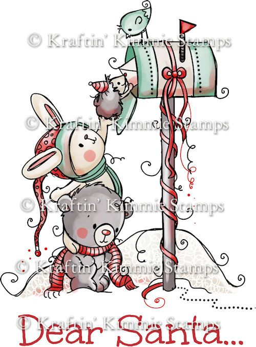 R010 Kraftin' Kimmie Unmounted Rubber Stamp Letter to Santa $6.40