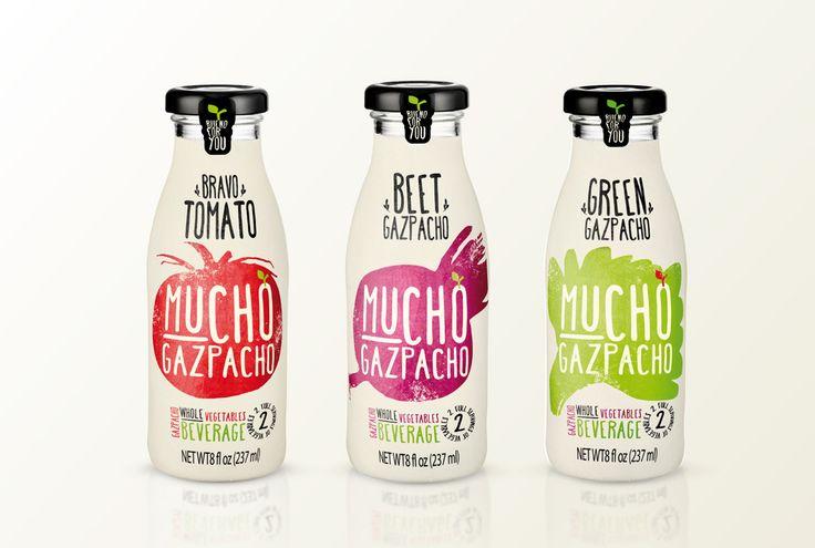 Mucho Gazpacho vegetable drink. Stunning type and illustration work!