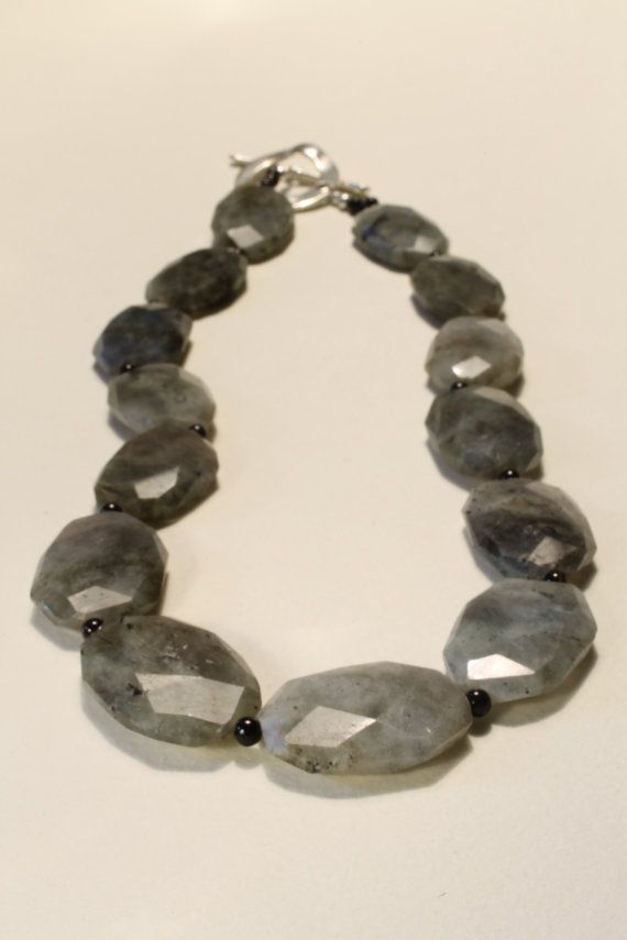 Chunky Labradorite with Black Agate by HavenHummingbird on Etsy, $65.00