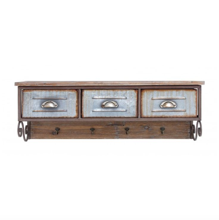 Vintage Wood Locker Shelf