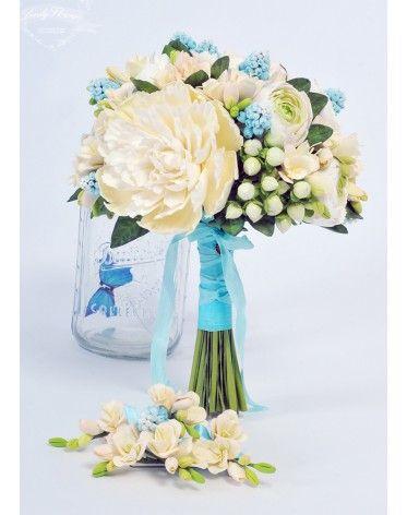 Букет невесты с мускари. Wedding bouquet, Bridal bouquet, Wedding flowers, polimer clay, deco clay. Свадебный букет, букет невесты, цветы ручной работы из полимерной глины Шепелевой Юлии.
