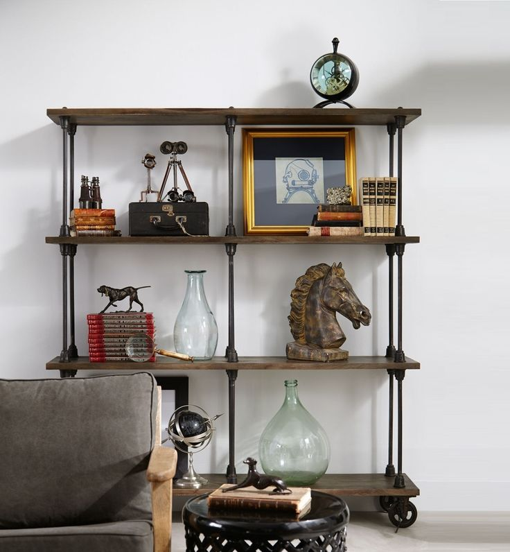 Antiqued Wood Iron Backers Rack Bookshelf