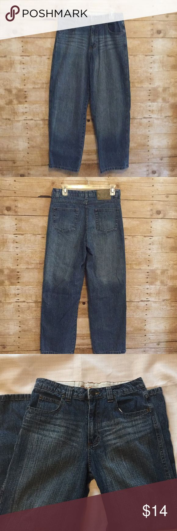 """🎃Womens Eddie Bauer Mid-Rise Boot Cut Jeans Sz 14 Like new Women's Mid-Rise Jeans that can be dressed up for date night or dressed down for running errands. There is no visible damage, but they do run small. They are size 14, but fits more like a 12.                                                            💙Waist measures 15"""" from side to side.     💙 Rise measures 14.5"""".                                  💙 Inseam measures 28"""".                               (P03) Eddie Bauer Jeans Boot…"""
