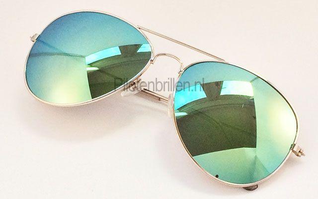 Groen gespiegelde pilotenbril