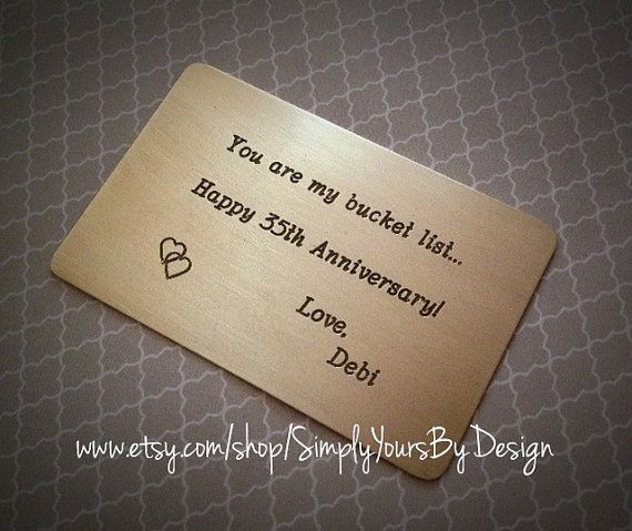 Cool Wedding Gifts For Young Couples: Custom Wallet Card,Metal Wallet Insert,35th Anniversary Gift,Husband Gift,Men's Anniversary