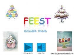 Digibordles Feest: cupcakes tellen. http://digibordonderbouw.nl/index.php/themas/feest/feestdigibordlessen